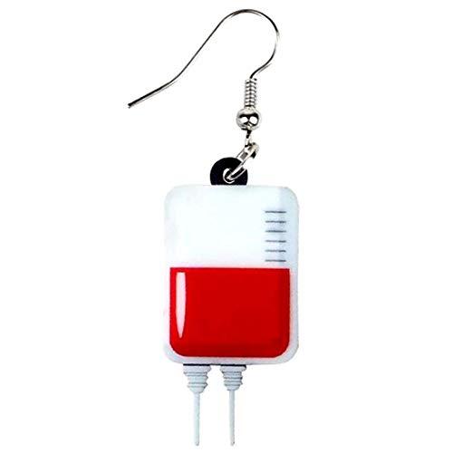 輸血パック リアルステンレスピアス フックピアス レディース 1個販売 片耳 シングルピアス サージカルステンレス 病院 血 血液 献血 ハロウィン イヤリング