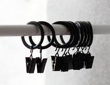 アンティーク風 ブラック リング付き クリップ 12個セット カフェカーテンなどに (リング内径 2.5cm)