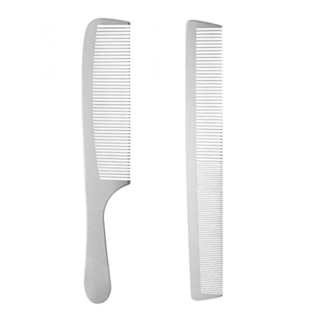 ライム無視するあいさつ2個 ヘアスタイリング ヘアカットコーム 櫛 ヘアブラシ ステンレス鋼 サロン 理髪師 カッティング 耐久性 耐熱性