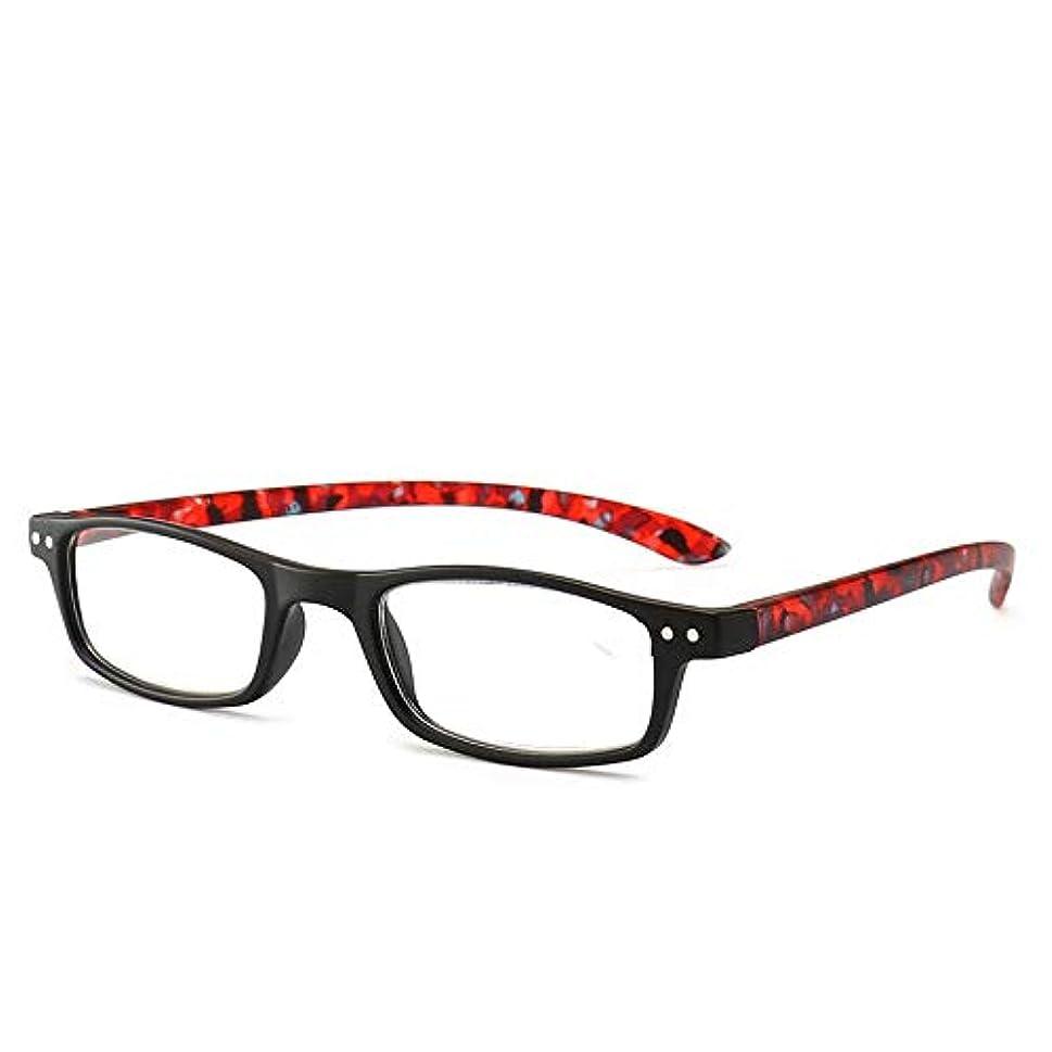 輸血化石乳白色T128老眼鏡視度+1.0?+4.0女性男性フルフレームラウンドレンズ老視メガネ超軽量抗疲労-レッド200