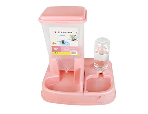 YINGYU ペット用自動給餌器 給餌 給水 ペット用の食器 犬 猫 自動給餌機 エサを自動給餌 給餌量調整可 皿 (ピンク)