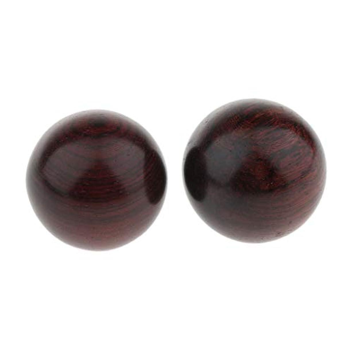 うまくいけば貸す有効Baoblaze 2個 木製ボール マッサージボール ツボ押し 手の動き 3サイズ選べ - 4.5cm, 説明のとおり