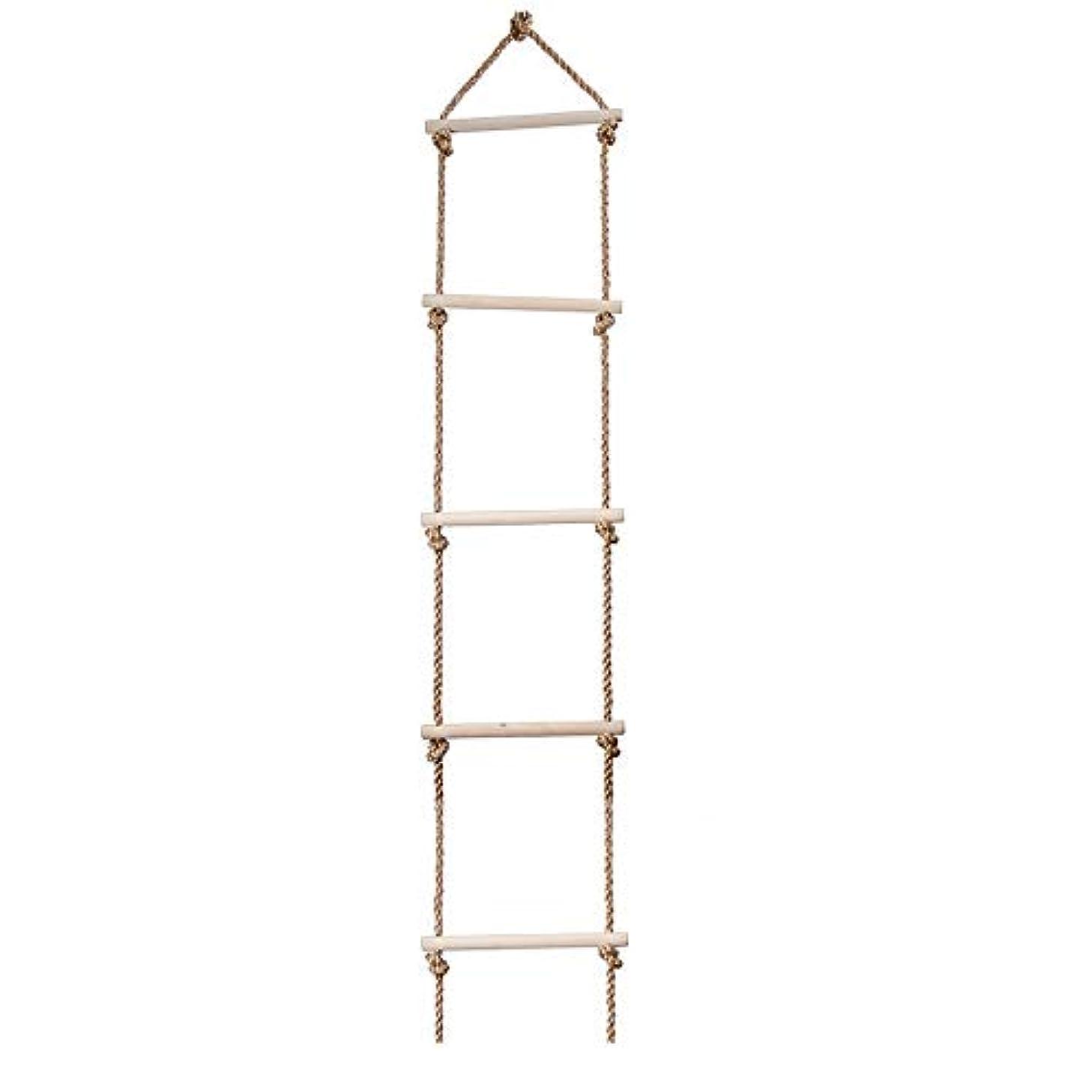 に対応する夕食を食べる完全にSUGE 縄ばしご 木製 梯子 クライミングはしご ぶらんこ おもちゃ 遊び道具 運動 スポーツ アスレチック 子供のため 子ども遊び 5段 1.8m