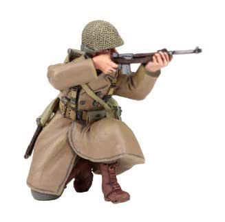 W. Britain 25041 U.S. 101st Airborne Infantry Wearing Overcoat Kneeling Firing Carbine Winter 1944-45 [並行輸入品]