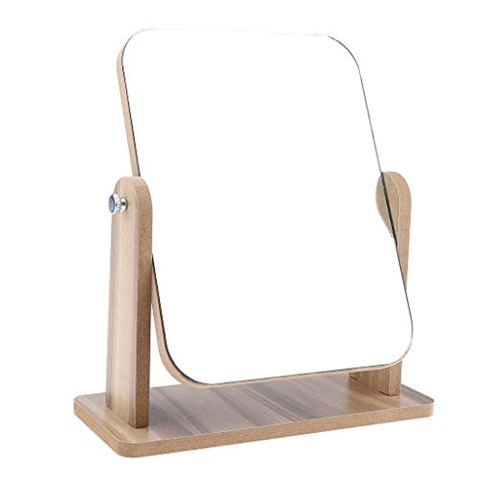 B Blesiya メイクアップミラー 化粧鏡 レトロ 卓上ミラー 木製ベース 旅行 2サイズ選べ - 22x17 cm