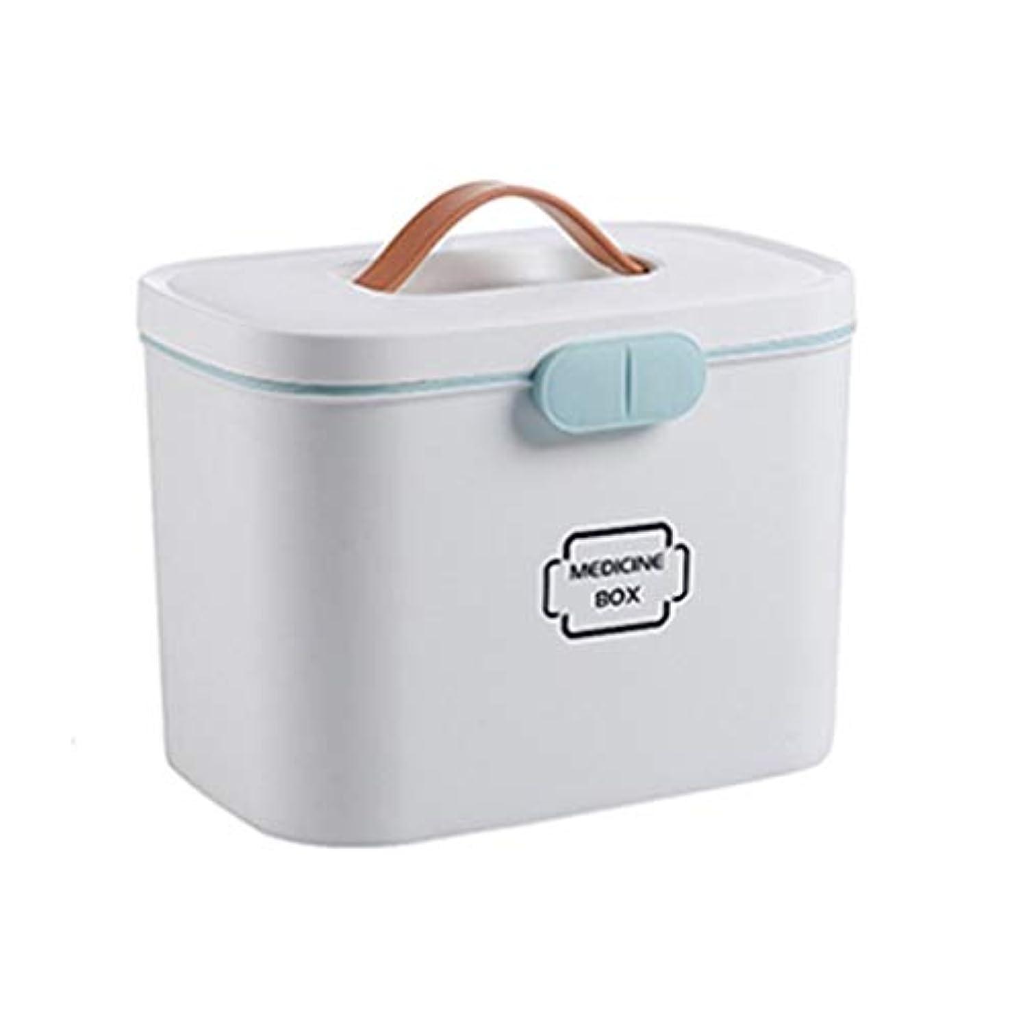 フェデレーション賛辞理容室First aid kit 大型医療キットポータブル救急箱家庭用薬収納ボックス旅行と職場医療用収納キット(ピンク、ブルー、ホワイト) XBCDP (Color : White)