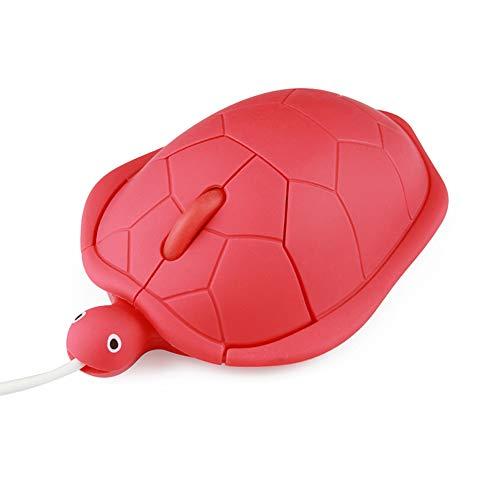 有線マウス 中型 かわいい亀型マウス かわいい動物のカメの形 USB有線マウス 光学式 ポータブルマウス PC/ノートパソコン/コンピューター用 面白い 子供/女の子用 (レッド)