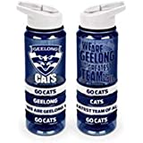 Geelong Cats AFL Tritan Drink Bottle with Wrist Bands and Flip-up Straw