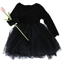 Fairy Baby ベビープリンセスドレス 長袖 子供用 ワンピース 女の子 膝上 Aライン チュチュスカート 春秋着 size 110 (ブラック)