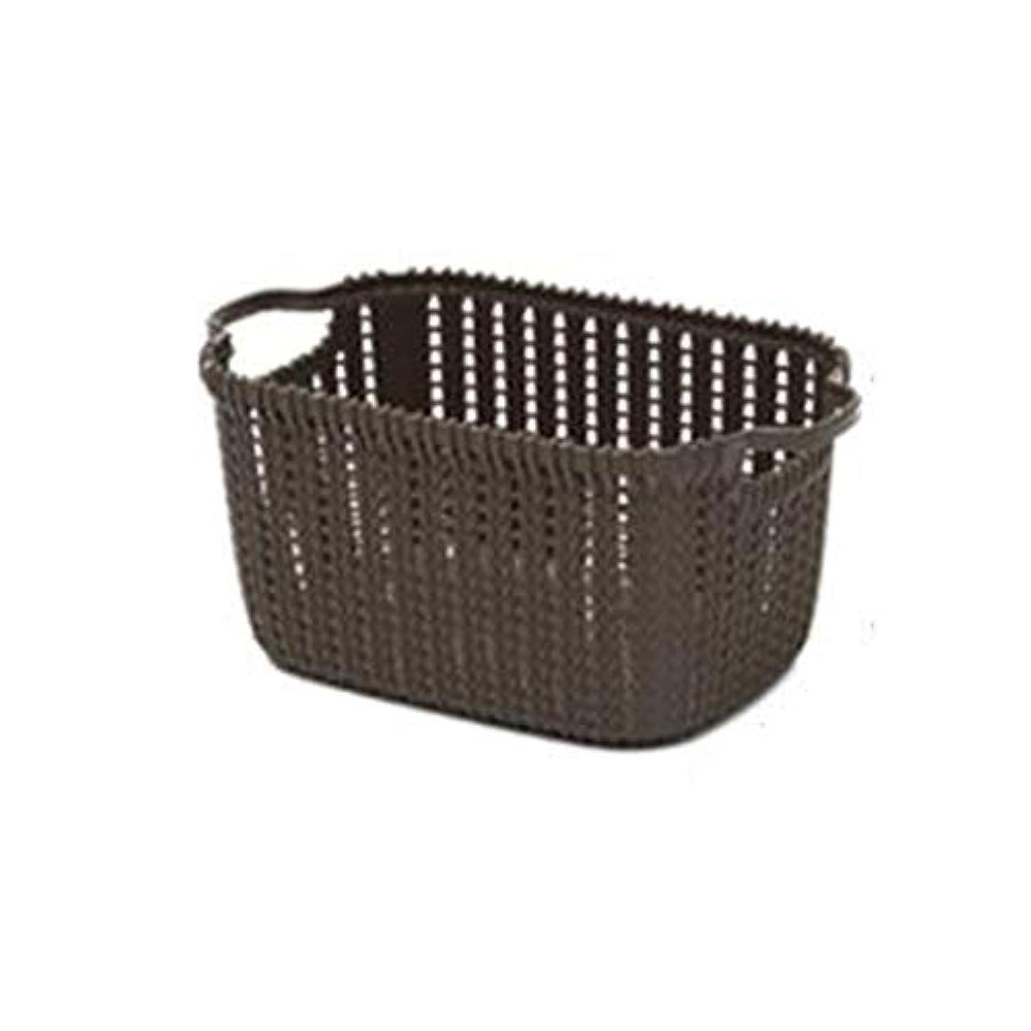 三十オール避けられないSMMRB 模造籐のデスクトップストレージバスケットプラスチック中空スナックストレージバスケットキッチンの浴室の雑貨の収納ボックス、ベージュ、ダークグレー (色 : Gray, サイズ さいず : 23cm*17cm*16cm)