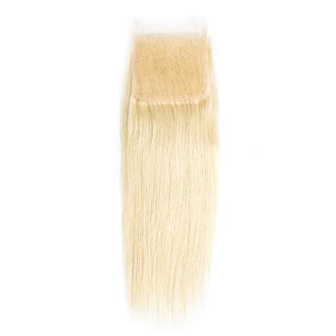 拍手する宿題ためにWASAIO ヘアエクステンションクリップUnseamedブロンド髪のブラジルのレースフロンタル閉鎖きちんと人間の髪4 * 4の上の閉鎖 (サイズ : 18 inch)