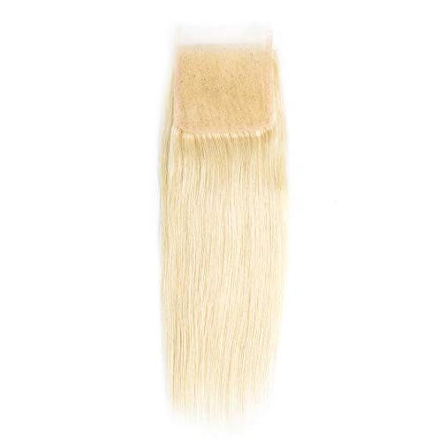 カストディアン不正確獲物WASAIO ヘアエクステンションクリップUnseamedブロンド髪のブラジルのレースフロンタル閉鎖きちんと人間の髪4 * 4の上の閉鎖 (サイズ : 18 inch)