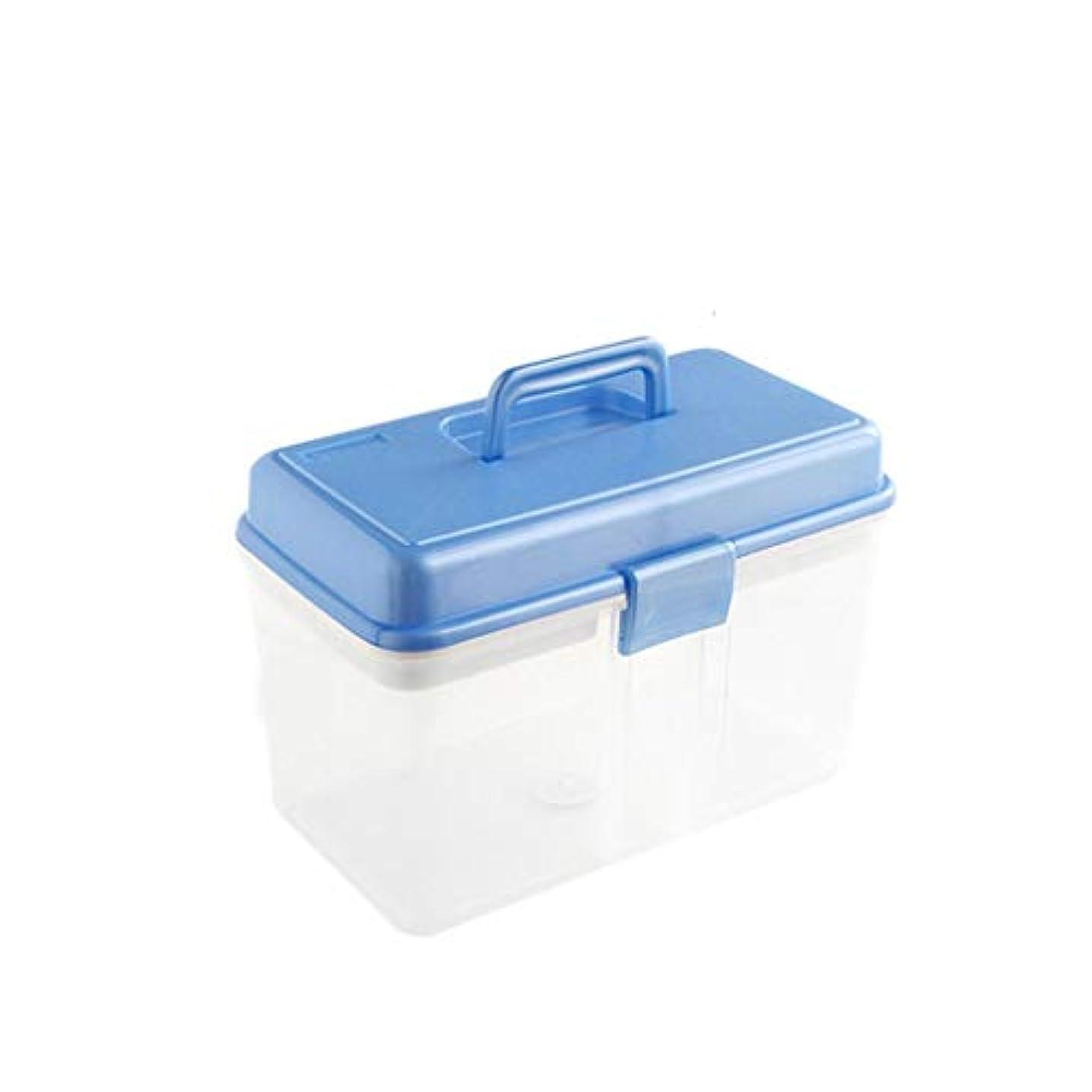 探偵聖域練る薬箱ファミリー大型プラスチック子供救急箱薬箱収納 HUXIUPING (Color : Blue)