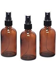 遮光瓶 蓄圧式ミストのスプレーボトル 100ml アンバー(茶色) / ( 硝子製?アトマイザー )ブラックヘッド × 3本セット / アロマスプレー用