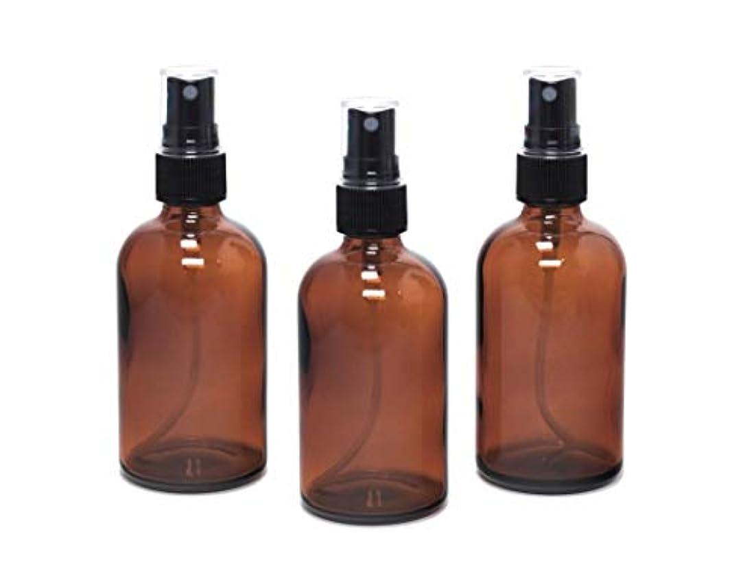 タップ教室休暇遮光瓶 蓄圧式ミストのスプレーボトル 100ml アンバー(茶色) / ( 硝子製?アトマイザー )ブラックヘッド × 3本セット / アロマスプレー用