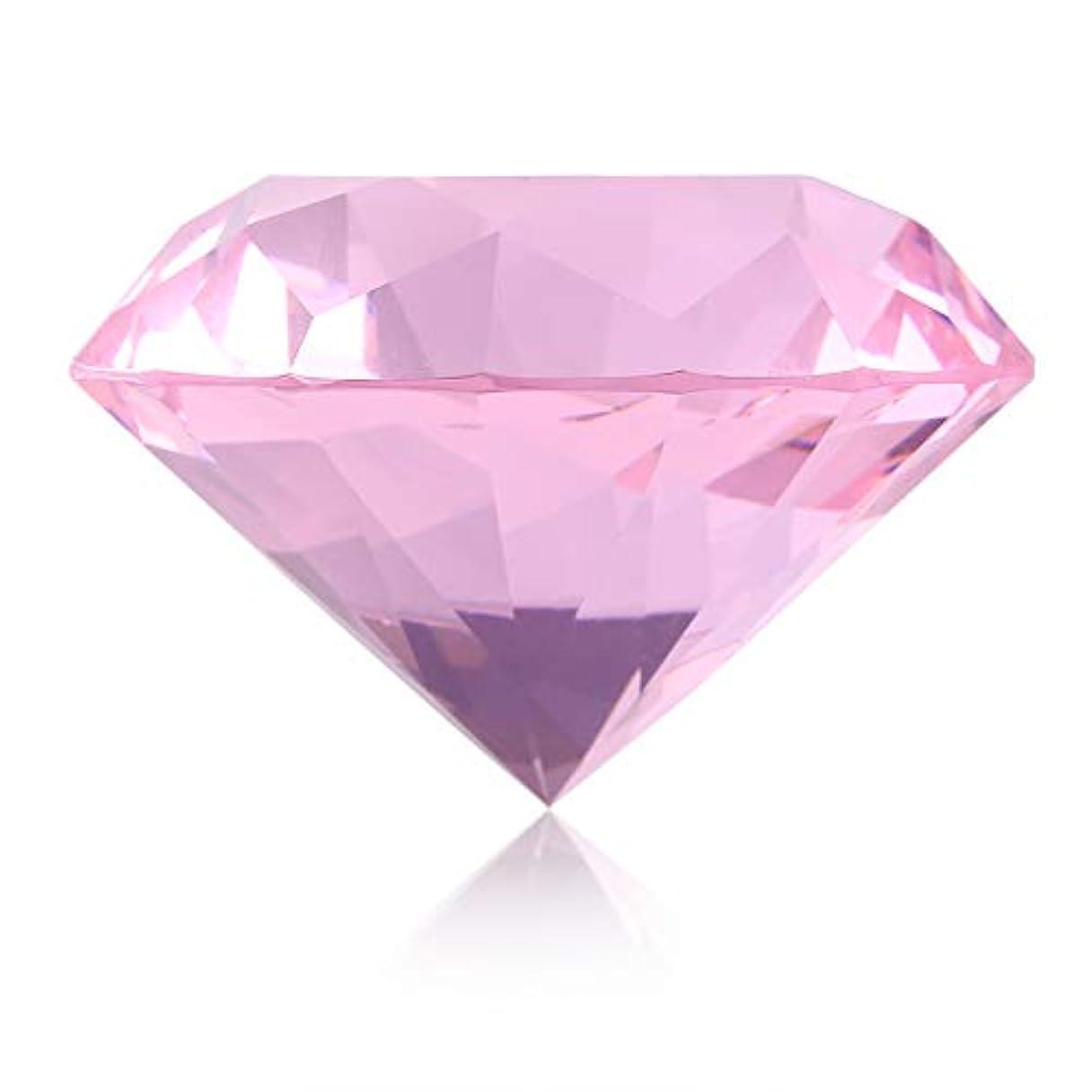 ミュウミュウ四面体キャップネイルチップスタンド スタンドベース ネイルアートディスプレイ ガラス クリスタル ダイヤモンド 撮影道具 モデル ネイルチップホルダー (ピンク)