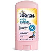 Coppertone Waterbabies日焼け止めピュア&シンプルなスティック広域スペクトルのSPF 50、0.49オンス