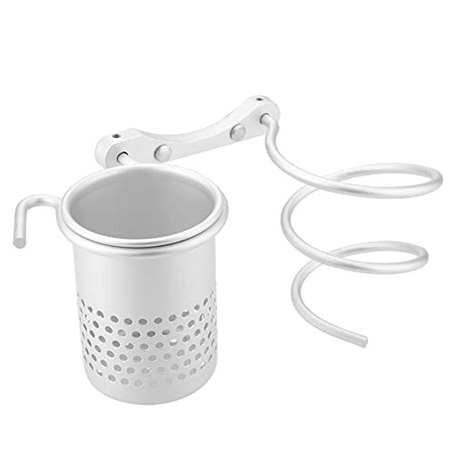 ヘアドライヤーホルダー壁二重ブラケット、ステンレススチールポリッシュ仕上げバスルーム洗面所オーガナイザー収納ヘアブロードライヤーサポート