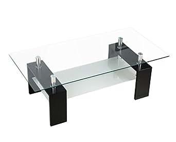 (OSJ)ガラステーブル コーヒーテーブル 幅98cm 強化ガラス天板(クリアグラス+ブラック脚)