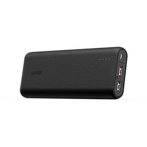 Anker PowerCore 20100 (20100mAh 2ポート 超大容量 モバイルバッテリー パナソニック製セル搭載) iPhone / iPad / Xperia / Galaxy / Android各種他対応 マット仕上げ トラベルポーチ付属【PowerIQ & VoltageBoost搭載】(ブラック)