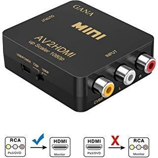 RCAからHDMI、RCA からHDMI、GANA 1080P Mini RCA コンポジット CVBS AV からHDMI ビデオ オーディオ コンバーターアダプター PAL/NTSC 対応、USB充電ケーブル付き PC、ノートパソコン、Xbox PS4 PS3 TV STB VHS VCR Camera DVD用
