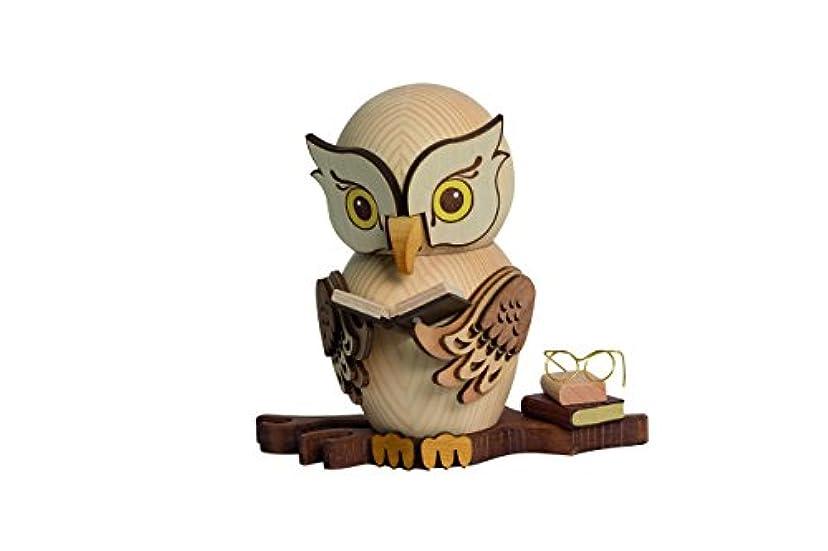 シェアに対処する溶けたドイツ語Incense Smoker Owl with Books – 15 cm / 5.9インチ – Drechslerei Kuhnert