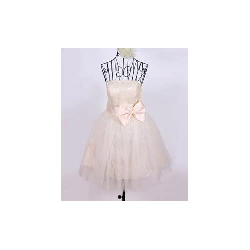 お呼ばれ ドレス ミニ ワンピース ふわふわ かわいい 結婚式 パーティ ウエディング アプリコット (L)