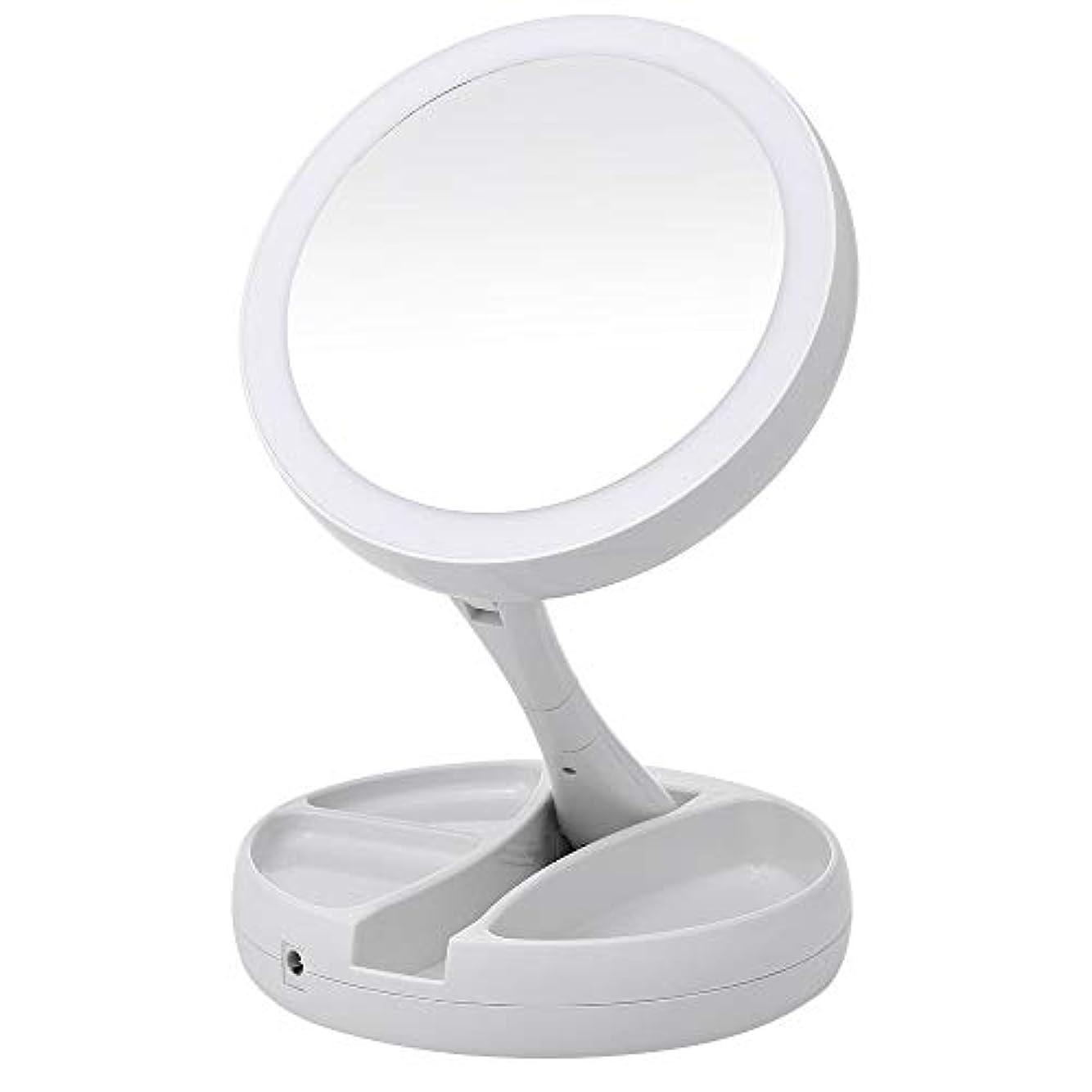 糞学習雪Portable LED Lighted Makeup Mirror Vanity Compact Make Up Pocket mirrors Vanity Cosmetic hand Mirror 10X Magnifying...
