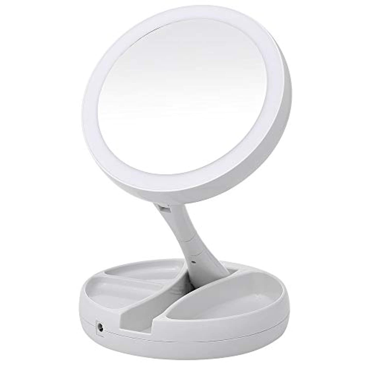 科学麻痺させる役立つPortable LED Lighted Makeup Mirror Vanity Compact Make Up Pocket mirrors Vanity Cosmetic hand Mirror 10X Magnifying Glasses New