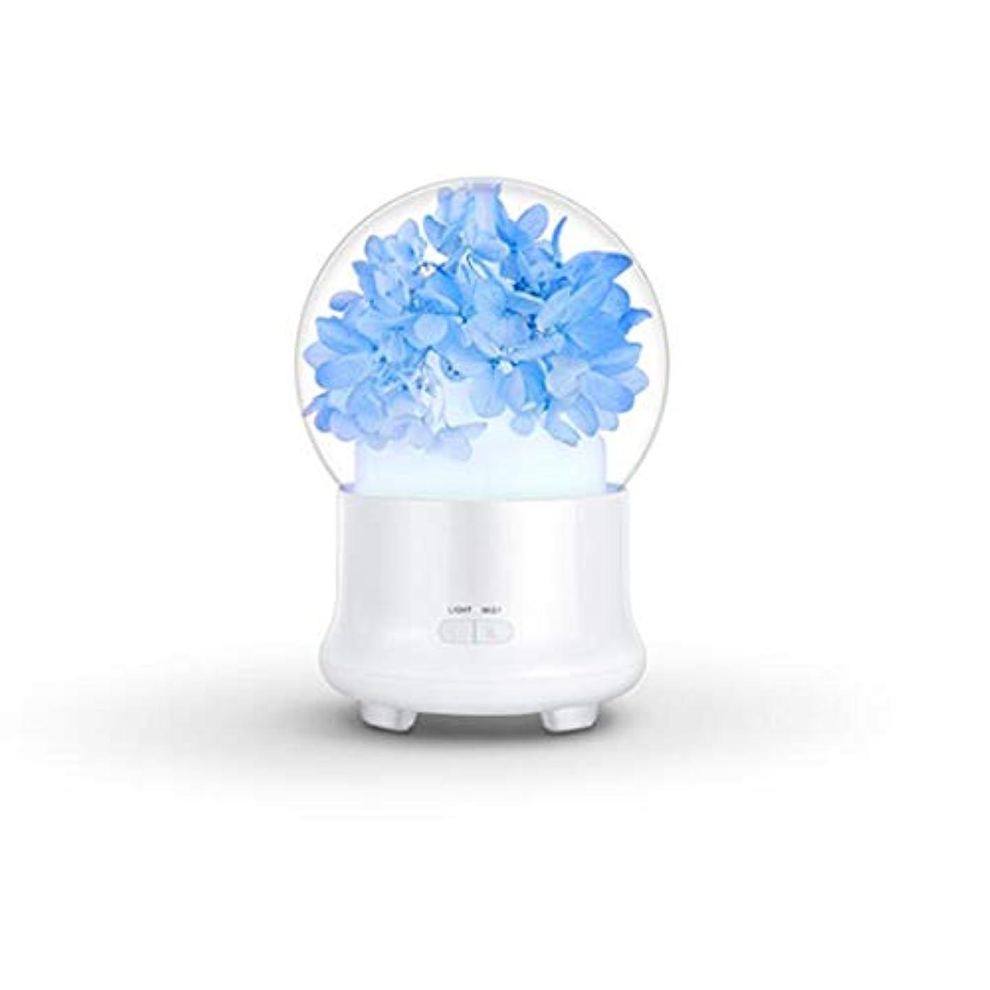 ACHICOO アロマディフューザー 加湿器 花 電気 カラフル LED ミストフォッガー かわいい 安全 24V 12 x 12 x 16.8cm ブルー
