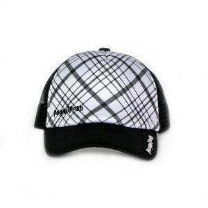 【並行輸入】Peanut Posh Trucker Hats Black and White Plaid ピーナッツポシュ トラッカーハット ブラック アンド ホワイト プレイド