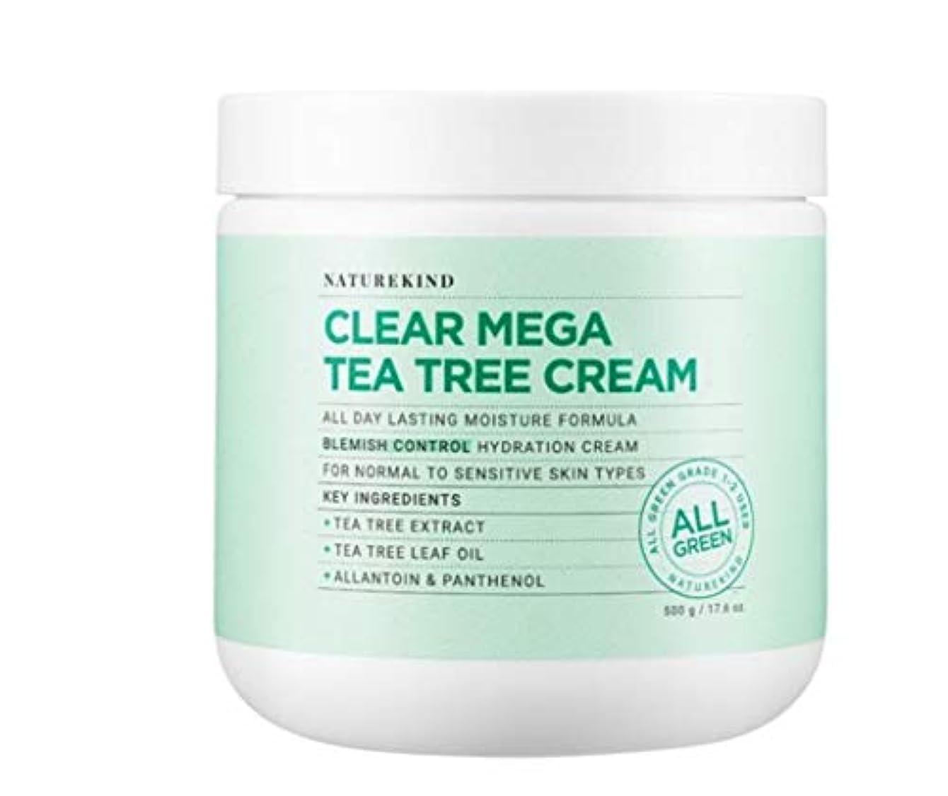 感謝エレガントずんぐりしたNATUREKIND CREAR MEGA TEA EREE CREAMネイチャーカインド高濃縮皮膚鎮静水分保湿クリーム大容量500g(並行輸入品)