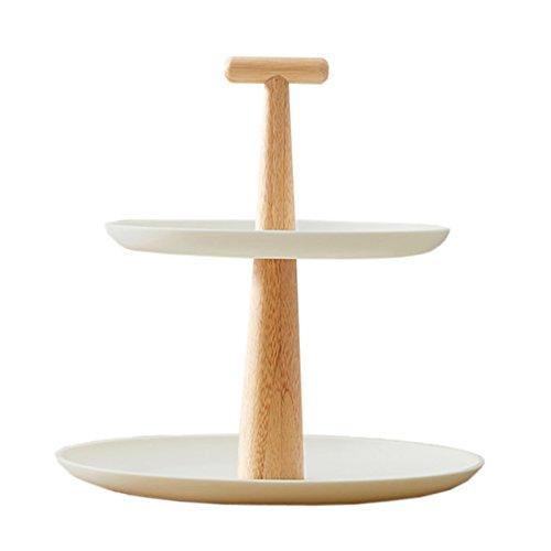 『Hanysen』竹製 二層果物皿 二層コンポート 二層皿 フルーツプレート ケーキスタンド 果物スタンド おちゃれ ケーキ皿 菓子棚 菓子皿 洋式 現代 ヨーロッパ式 創意 竹繊維 アフタヌーンティー 応接間 客間 食器 ケーキ 台