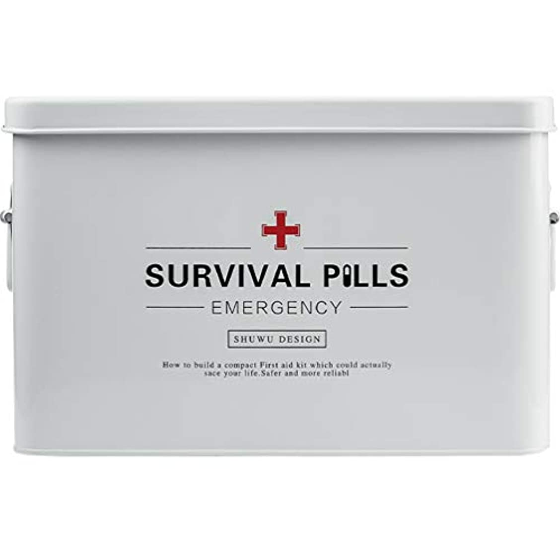 影響力のあるスペース法医学薬箱 多機能金属 救急箱ハンドル付き 家族応急処置 収納,白,二重層