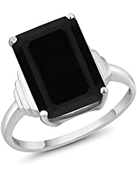 Gem Stone King 925 Sterling Silver Black Onyx Women's Ring (6.60 Cttw Emerald Cut 14X10MM Available 5,6,7,8,9)