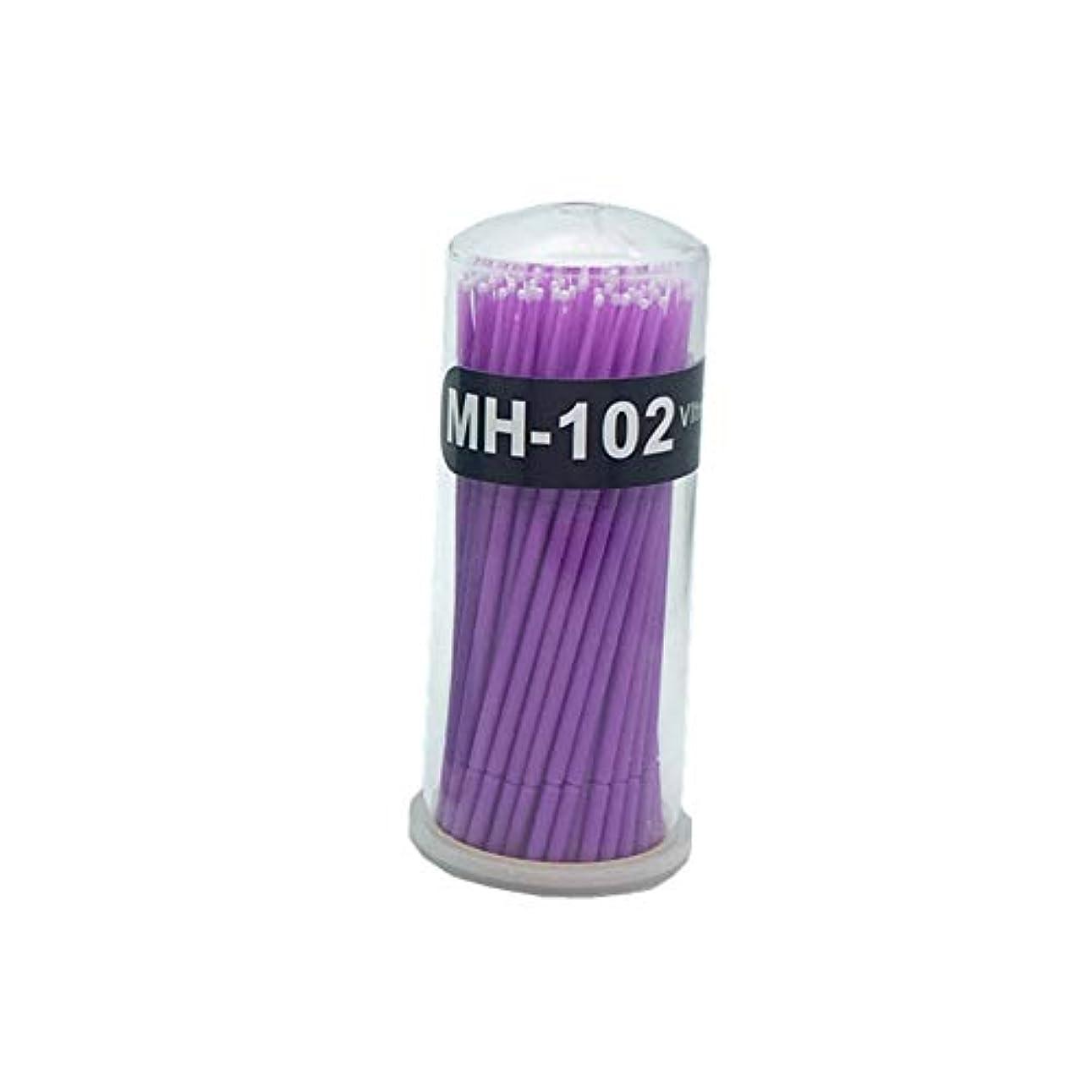 緑変化するマークダウンランダムカラーメイクアップ化粧品アプリケーターブラシ100マイクロマイクロ使い捨てブラシの曲げ可能なスワブアプリケータ
