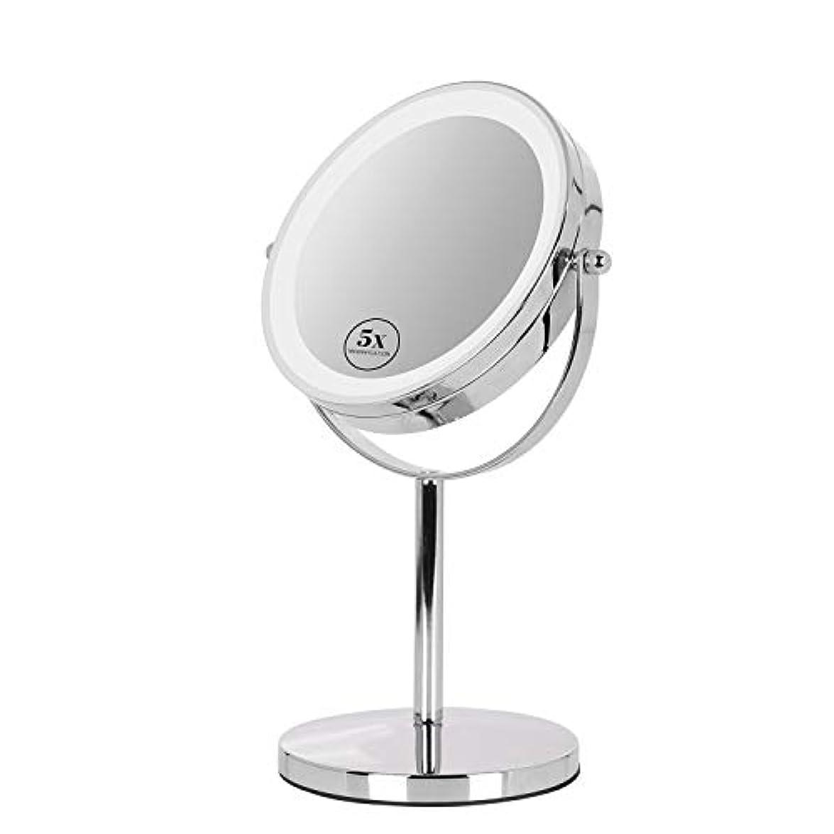 はがきクリップみすぼらしい卓上ミラー 鏡 化粧鏡 LED付き 真実の両面鏡DX 5倍拡大鏡 360度回転 卓上鏡 鏡面Φ165mm