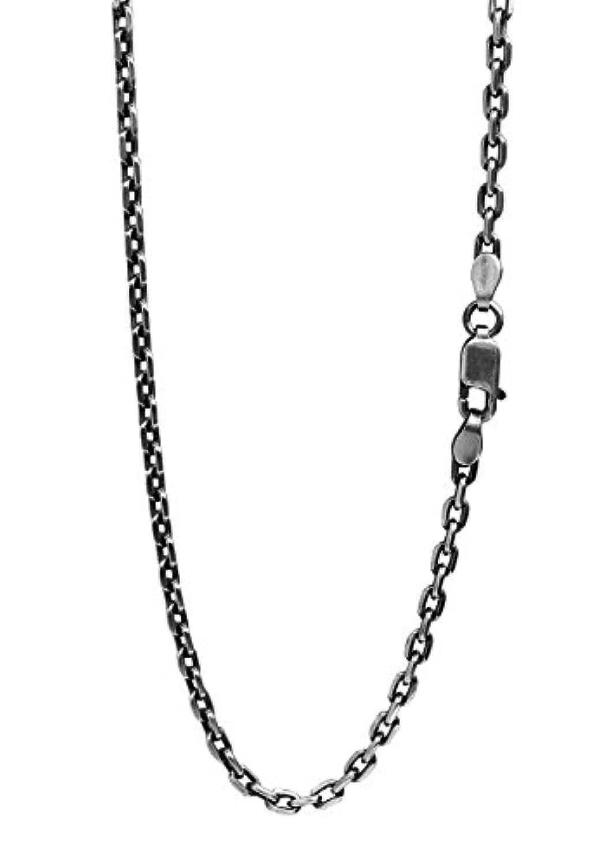 新宿銀の蔵 いぶし あずきチェーン 4面カット 長さ40~80cm (60cm) 幅2.6mm 薄め シルバー 925 ネックレス チェーン ネックレスチェーン sv