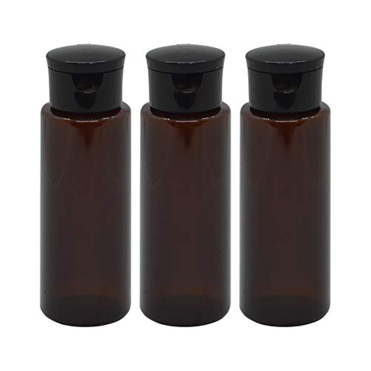 鎮静剤心から自殺日本製 化粧品詰め替えボトル 茶色 100ml 3本セット ワンタッチキャップペットボトル クリアブラウン