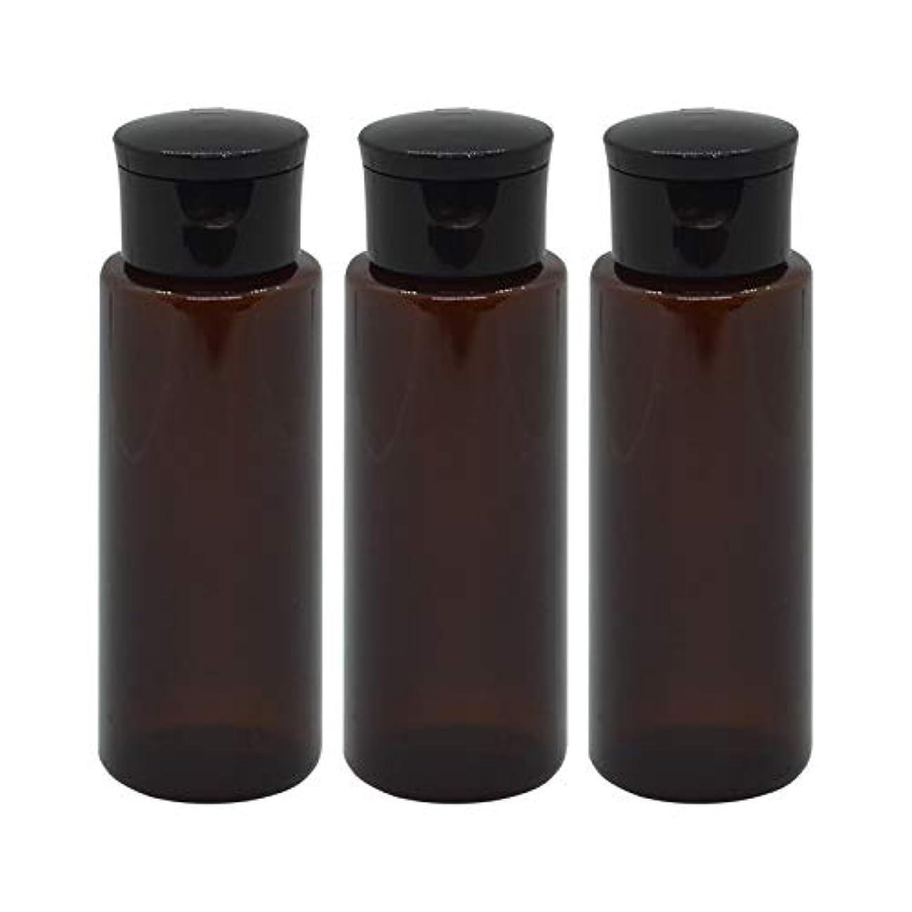 レイアウト希望に満ちたブラザー日本製 化粧品詰め替えボトル 茶色 100ml 3本セット ワンタッチキャップペットボトル クリアブラウン