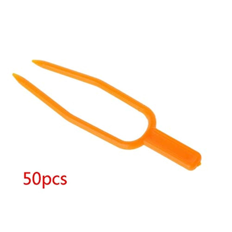 中庭ピンクリスト50個イチゴ苗固定クリップ再利用可能な植物ストロン固定具メロンバインズクランプ固定フォークガーデンツール-オレンジ