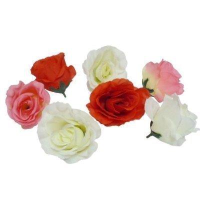 バラ の 造花 花部分のみ 直径 8センチ 3色 50個セット 白 ピンク 赤