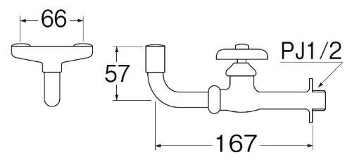 三栄水栓 【横形洗眼水栓】 呼び13 Y25A-13