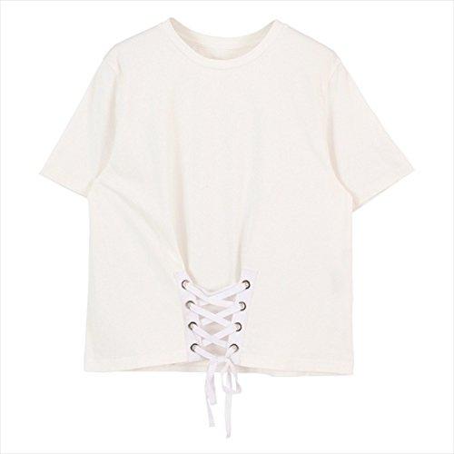 ティティベイト(titivate) カットソービスチェレースアップTシャツ【ホワイト/FREE】