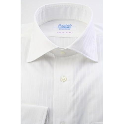 (スキャッティ) Scented 白無地 ストライプドビー 綿100% ワイドカラー (細身) ドレスシャツ wd4164-3983
