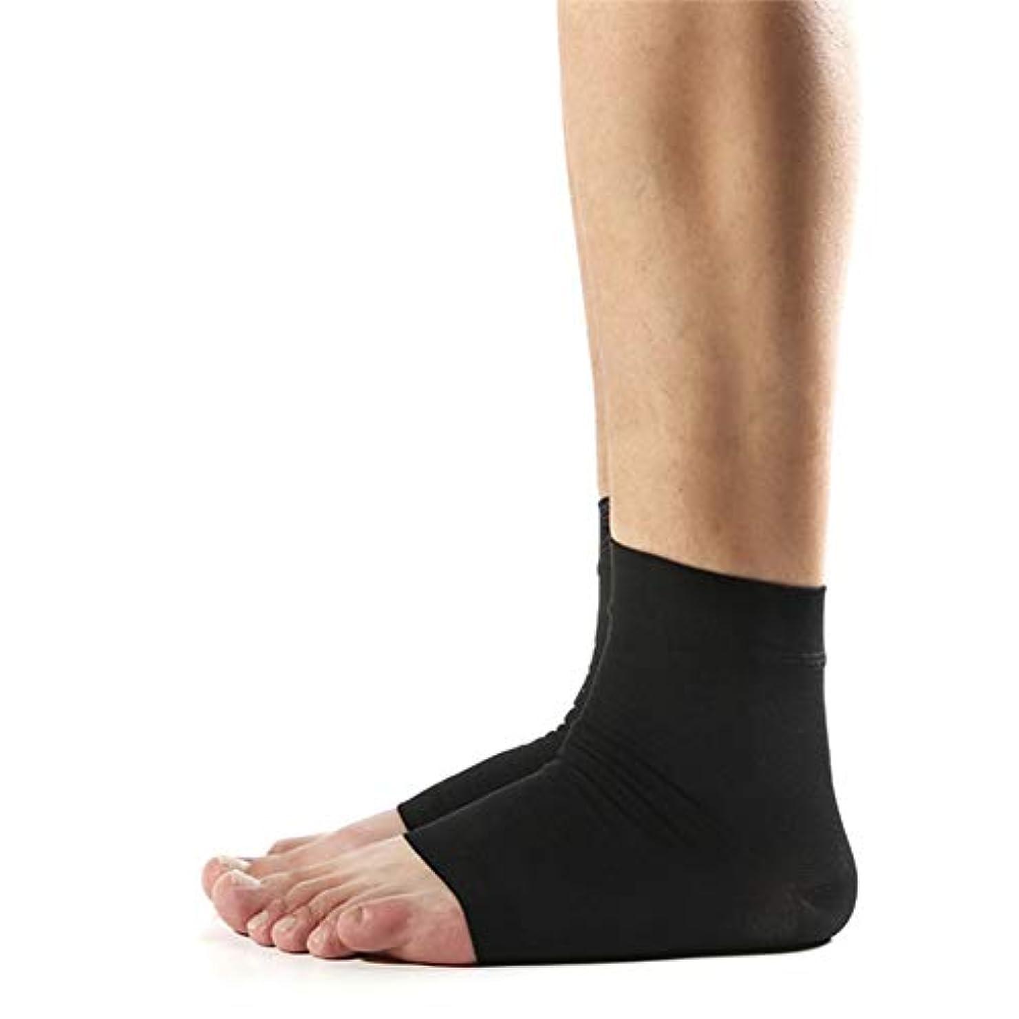 解放する余分な骨かかと保護弾性靴下(1ペア)、ハイヒールを破裂させるためのかかと保護装置、足底筋膜炎の緩和、かかとの拍車,黒,M
