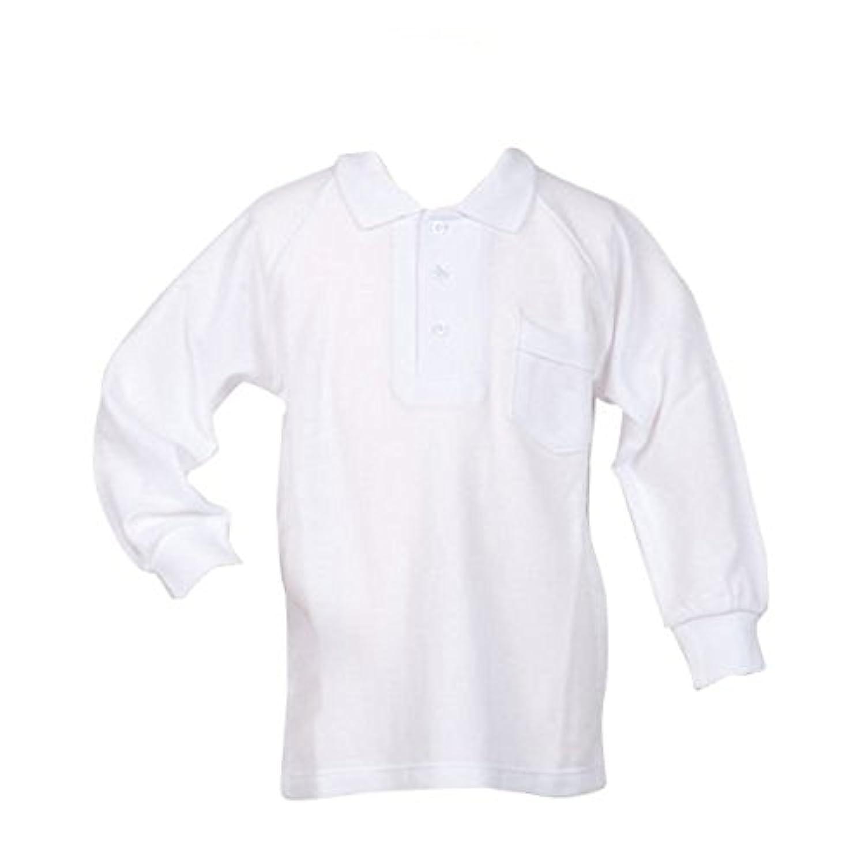 貴重な日本製【クールプラス繊維】お子様用長袖かのこポロシャツ【白】【100~160サイズ】お着替えしやすいストレッチ素材衿