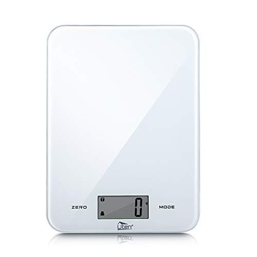 Uten デジタルキッチンスケール 1gから8kgまで キッチンスケール 風袋引き 電池付け 強化ガラス面 タッチボタン付きクッキングスケール コンパクト 高精度 料理はかり