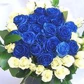 特別な日に!青いバラと白いバラのブーケボレロ♪(花束)100本 【生花】【お祝い・記念日・誕生日・フラワーギフト・バラ】
