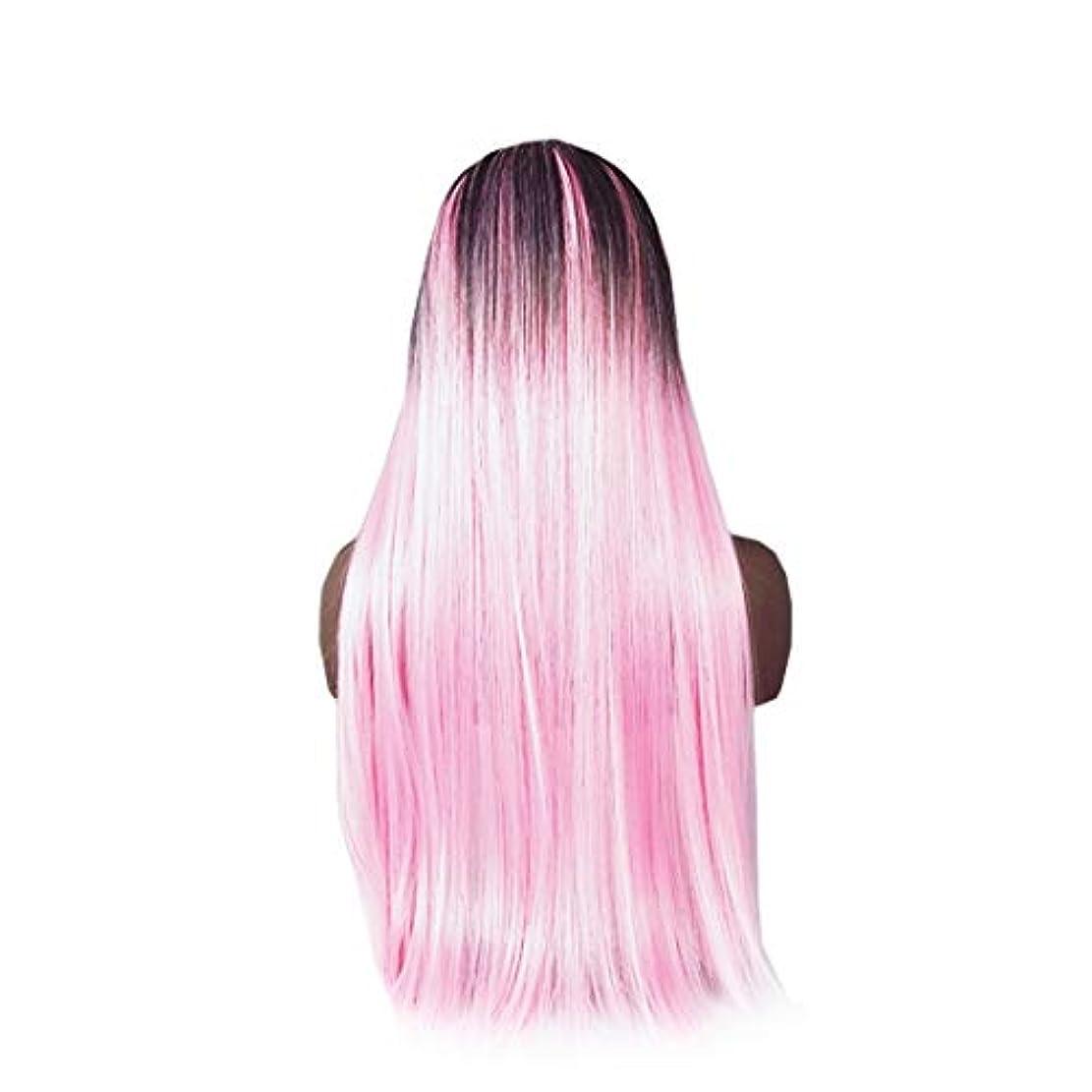 ほんの世代役員Koloeplf 合成ストレートストレートヘアウィッグカラーグラデーションフルウィッグ女性のための前髪付き耐熱ウィッグロングウィッグコスプレ/パーティー用 (Color : Pink)